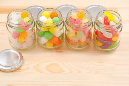 comfit: Sweet candy colorful in the bottle Stock Photo