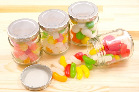 comfit: Jelly beans spilled sweet and colorful candies which was in the bottle