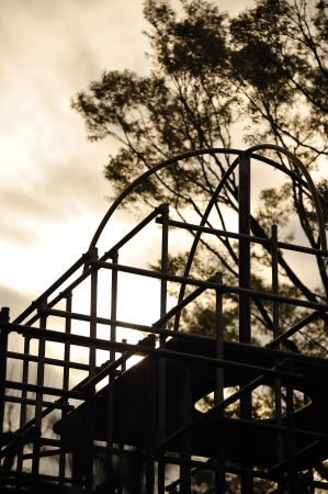 jungle gym: Silhouette of the jungle gym