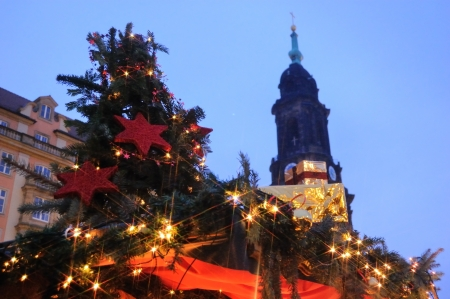 Christmas markets in Germany and Dresden Church of the Holy Cross photo