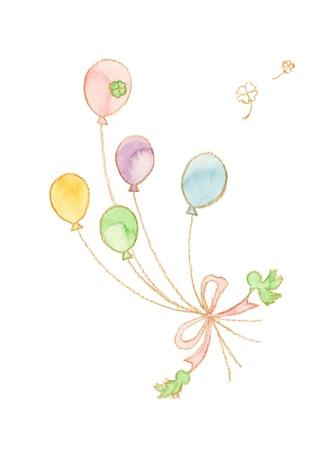 hair bow: Bird and balloons