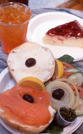 Cheesecake and bagels photo