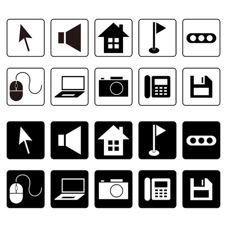 Icon set of mouse notebook PC · camera, telephone, home, etc. photo
