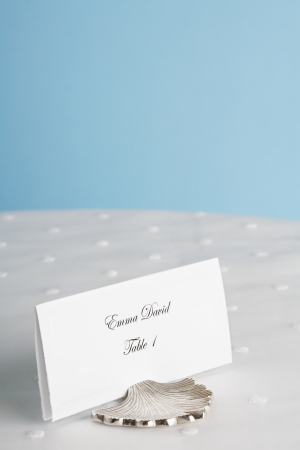 western script: Place card on table Stock Photo