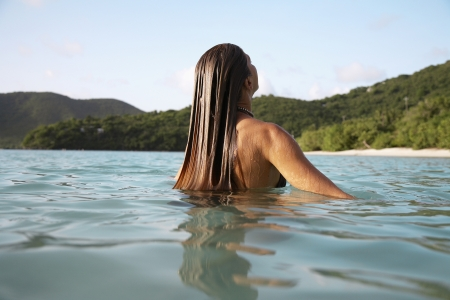 Mid adult woman swimming, St. John, US Virgin Islands, USA photo
