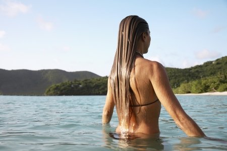 Mid adult woman swimming in ocean, St. John, US Virgin Islands, USA photo