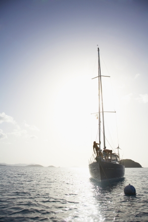 st  john: Couple on sailboat, St. John, US Virgin Islands, USA