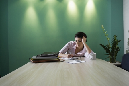 making notes: Businesswoman making notes in boardroom Stock Photo