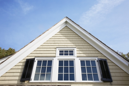 house gable: Gable of house (close-up), Chatham, New Jersey, USA Stock Photo