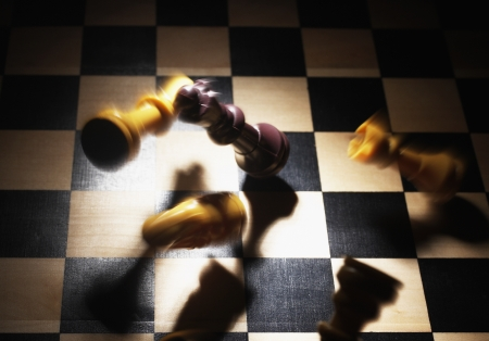 things that go together: Chess Pieces Falling on Board