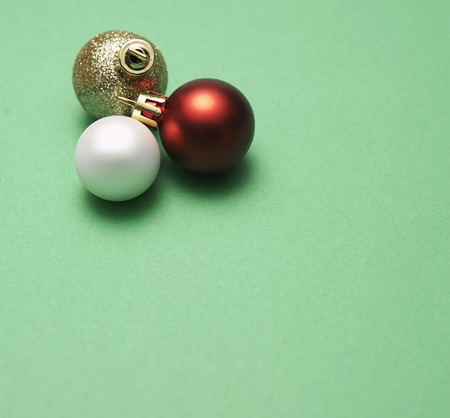 cropped shots: Three Baubles Stock Photo