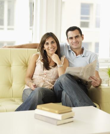 Mid-Adult Couple on Sofa photo