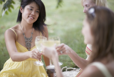 Mid-Adult Woman Toasting with Friends photo
