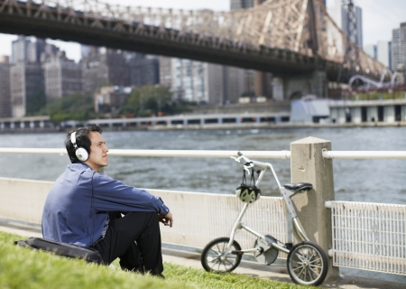 Young Man Listening to Headphones  photo