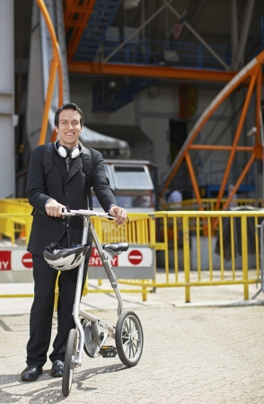 Businessman with Bicycle at Roosevelt Island Tramway photo