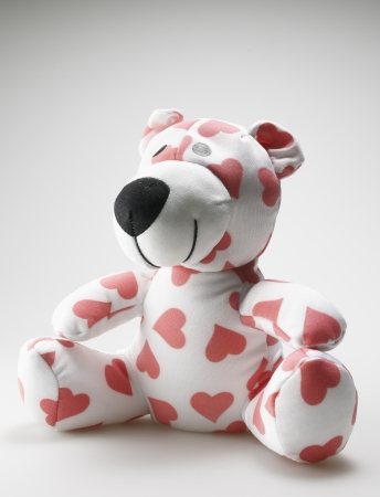 things that go together: Teddy Bear with Love Heart Pattern Stock Photo