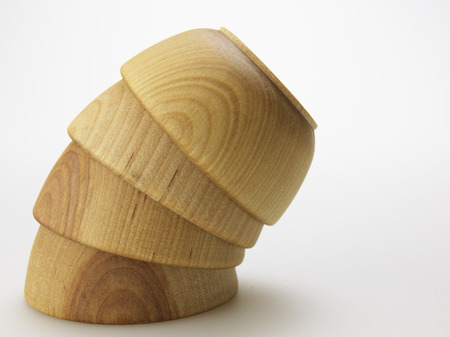 cropped shots: Stack of Four Wooden Bowls