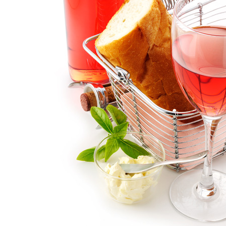 French bread and wine photo