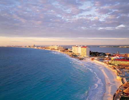 Morning glow of Cancun beach