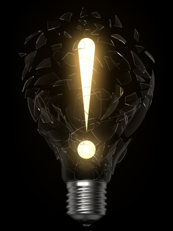 3D rendering of lightbulb and exclamation point breaking the glass photo