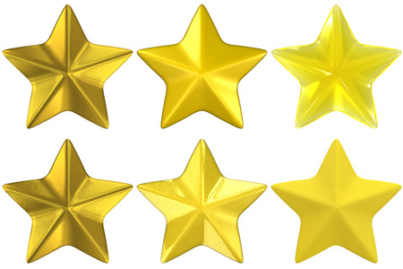 a set of star shapes rendered with various materials:  gold, metallic yellow, yellow glass, and yellow clay. photo