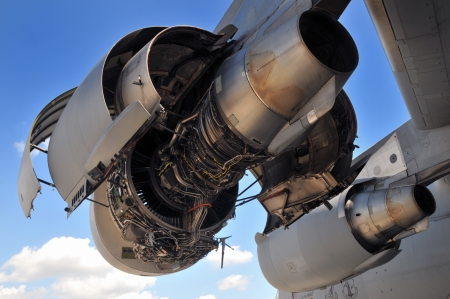 Engine of airplane photo