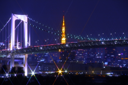 Tokyo Tower, along with Rainbow Bridge photo