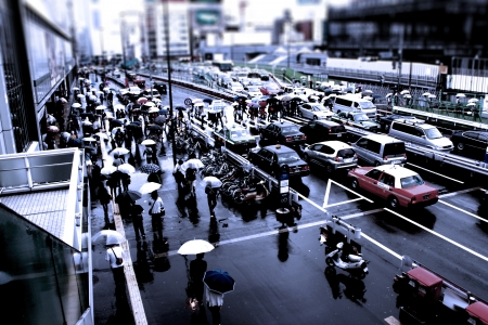 Shinjuku Station on a rainy day photo