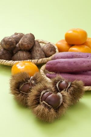chestnut, taro and persimmon photo