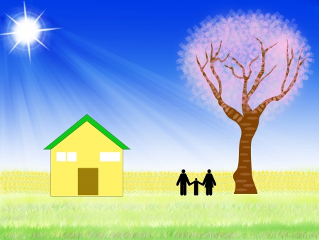 Illustration of family and cherry tree illustration