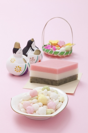 Japanese traditional sweets and dolls photo
