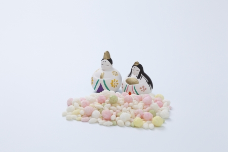 Japanese traditional dolls and sweets photo