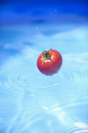 A cherry tomato falling into water photo