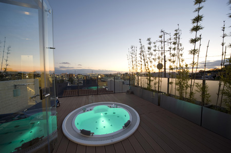 Outdoor hot tub during the sunset Stock Photo - 26619267