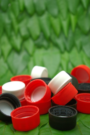 Recycle plastic bottle caps photo