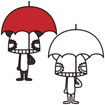 Cartoon panda bears holding umbrellas photo