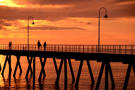 Glenelg pier at sunset Stock Photo - 23684336