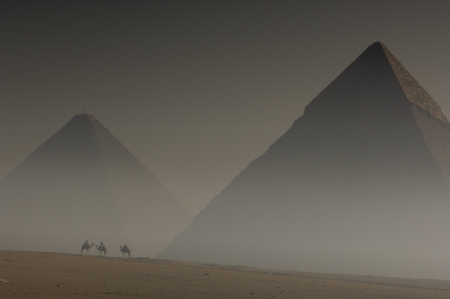 Pyramid of sandstorm photo
