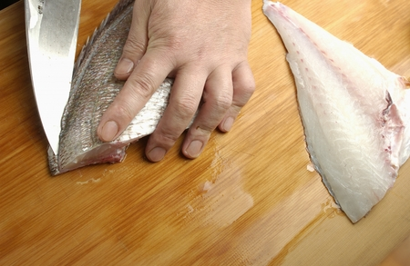 animal body part: Chef cutting sea bream,close up Stock Photo