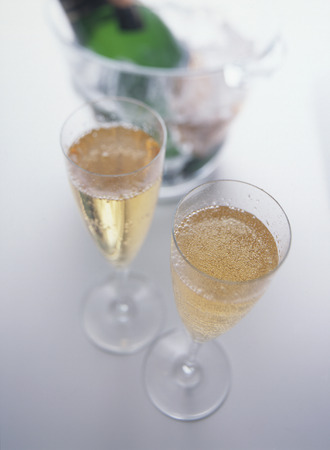 Glasses of champagne,white background photo