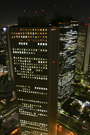 honshu: Skyscraper at night,Tokyo Prefecture,Honshu,Japan