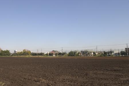 plowed field: Plowed field,Tokyo Prefecture,Honshu Japan Stock Photo