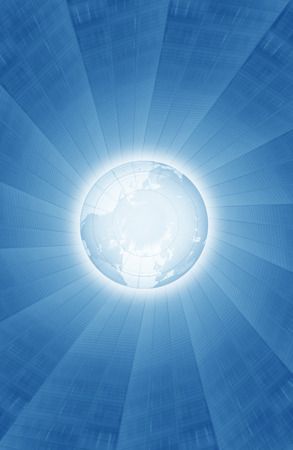 emanating: Rays of light emanating from globe