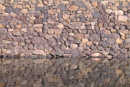 no boundaries: Moat surrounding a stone wall,Matsue Castle,Matsue,Shimane Prefecture,Japan