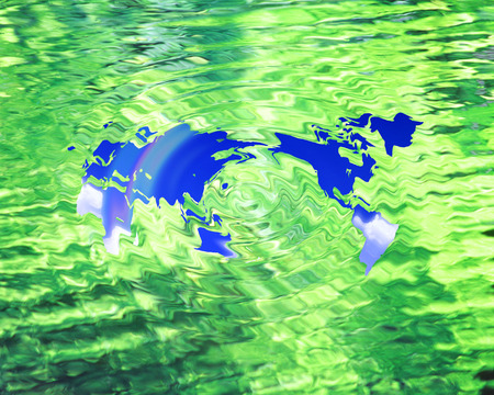 Blue world map in green rippled water photo