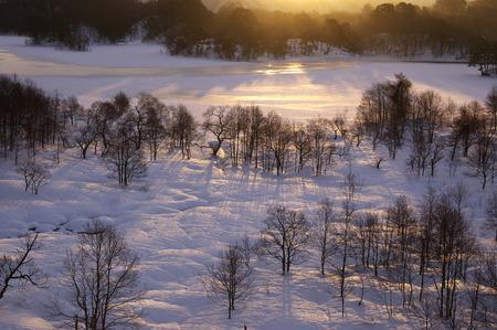 fukushima: Sunrise over snowy landscape,Kitashiobara-son,Fukushima Prefecture,Japan