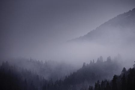 fukushima: Mountain ranges in the morning haze,Minamiaizu town,Fukushima prefecture,Japan