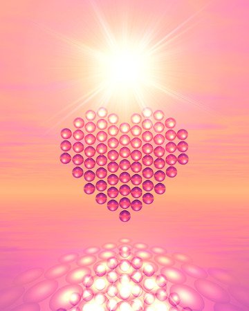 heart under: Spheres forming a heart under a bright sun