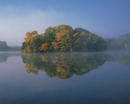 fukushima: Lake Sohara in Autumn,Fukushima Prefecture,Honshu,Japan Stock Photo