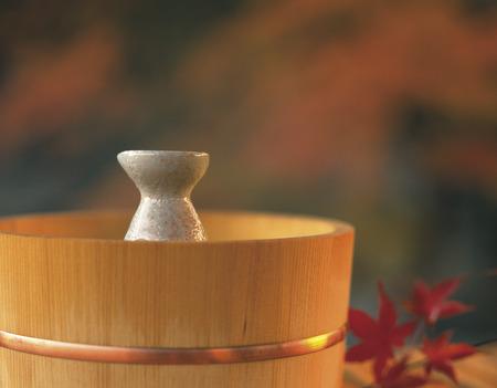 saki: Saki decanter in a bamboo bucket